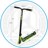 Madd Gear Kick Kaos Stunt Scooter Green Dimensions