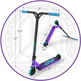 Madd Gear Kick Kaos Stunt Scooter - Purple / Teal Dimensions