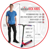 Madd Gear Kick Kaos Stunt Pro Scooter - Red / Blue Size