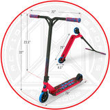 Madd Gear Kick Kaos Stunt Pro Scooter - Red / Blue Dimensions