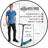 Madd Gear Kick Kaos Stunt Scooter Blue Green Recommended Rider Size