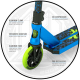 Madd Gear Kick Kaos Stunt Scooter Blue Green Key Features Front