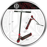 MGP VX9 Nitro Pro Scooter - Red Splatter - Product Dimensions