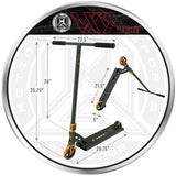 MGP VX9 Pendulum Pro Scooter - Black / Bronze - Product Dimensions