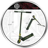 MGP VX9 Pendulum Pro Scooter - Black / Gold - Product Dimensions