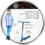MGP VX9 Team Pro Scooter - RP-1 - Recommended Rider Size