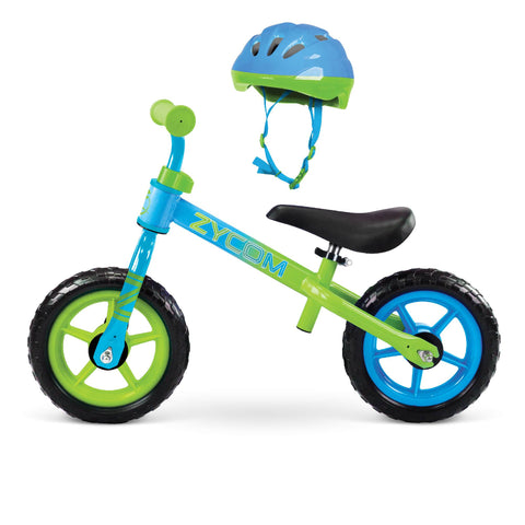 Zycom Childrens Balance Bike ZBike Helmet CPSC Certified Combo Blue Green