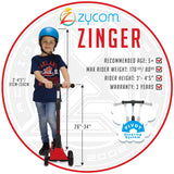 Zycom Zinger Scooter - Red / Black Child Height
