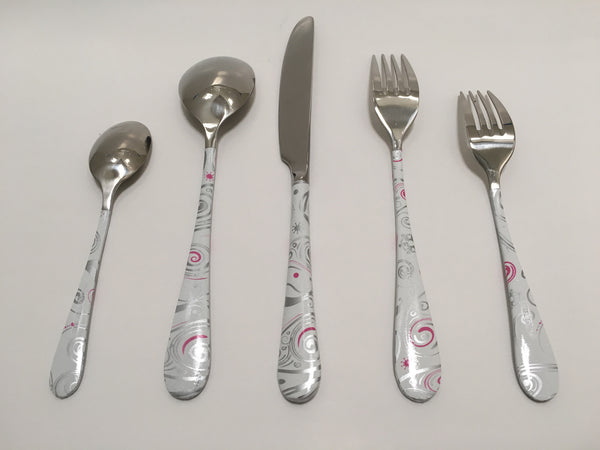 5 piece flatware set - Girly Swirlies