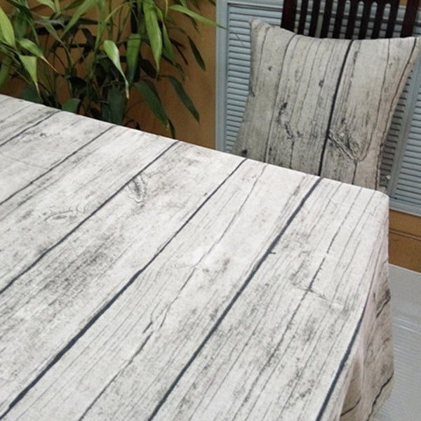 Vintage Wood Grain-Look Table Cloth