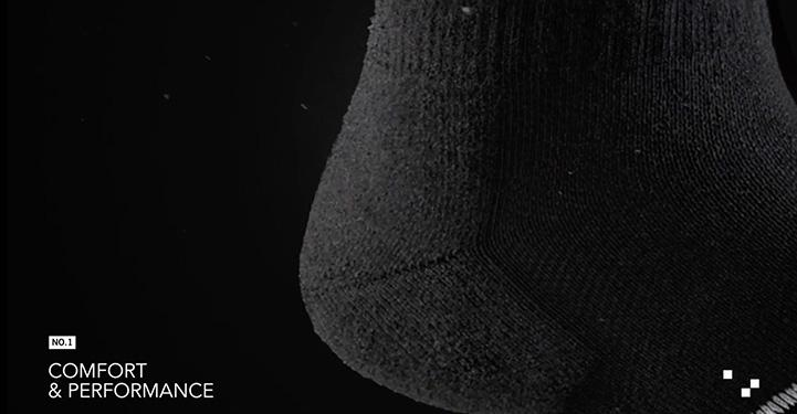 Closeup of element socks heel to show comfort and performance