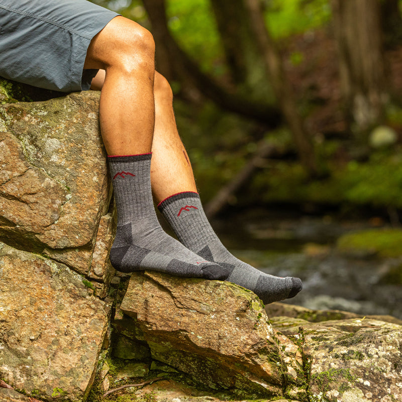 Man outside wearing Hiker Micro Crew Cushion Charcoal Grey Hiking Sock
