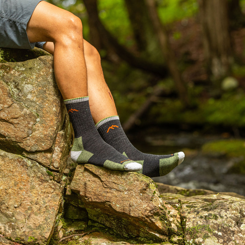 Man outside wearing Hiker Micro Crew Cushion Lime Green and Black Hiking Sock