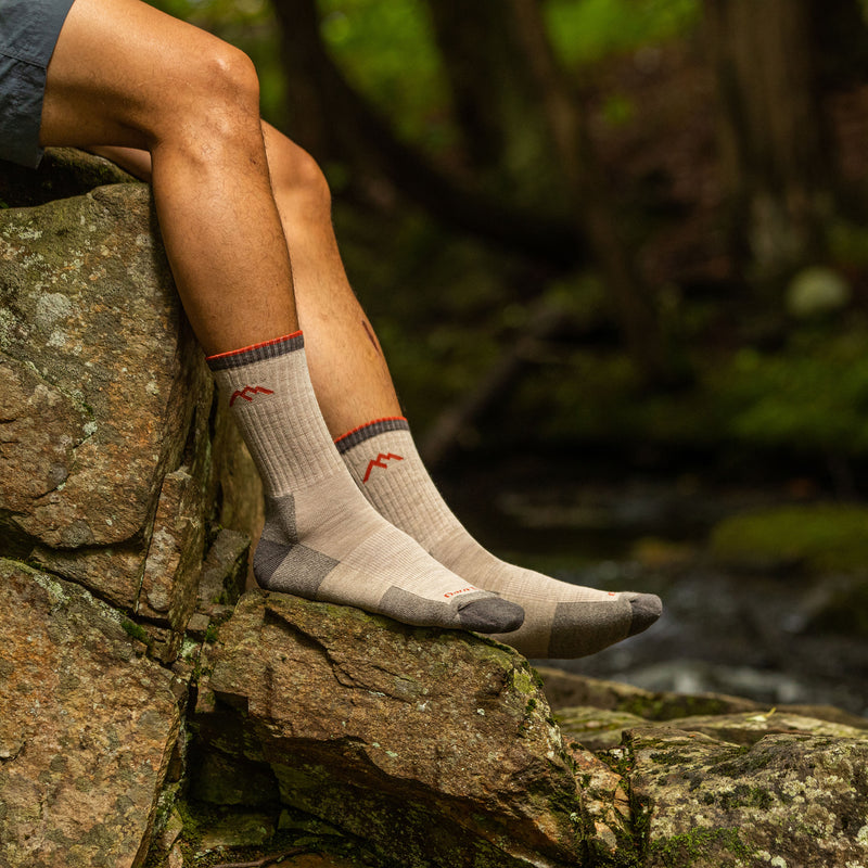 Man outside wearing Hiker Micro Crew Cushion Oatmeal Hiking Sock