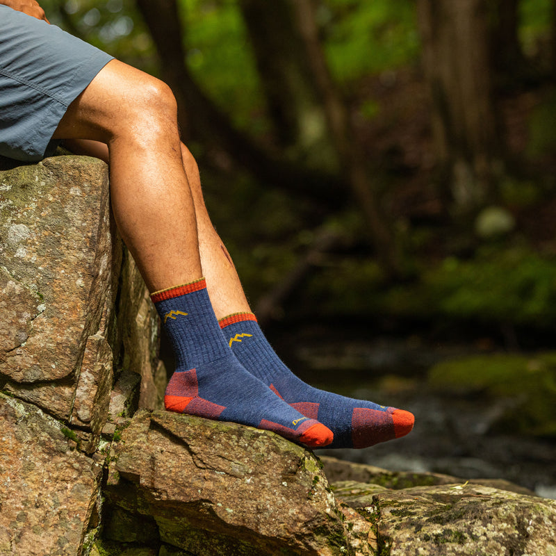 Man outside wearing Hiker Micro Crew Cushion Denim Hiking Sock