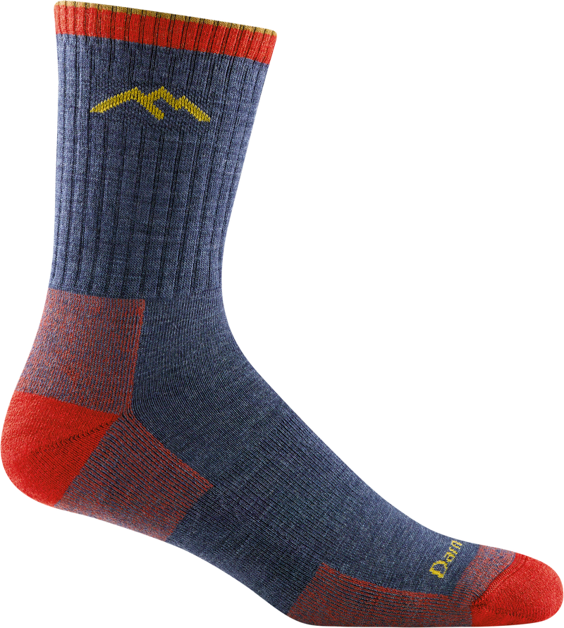 Hiker Micro Crew Cushion Denim Hiking Sock blue with red for men