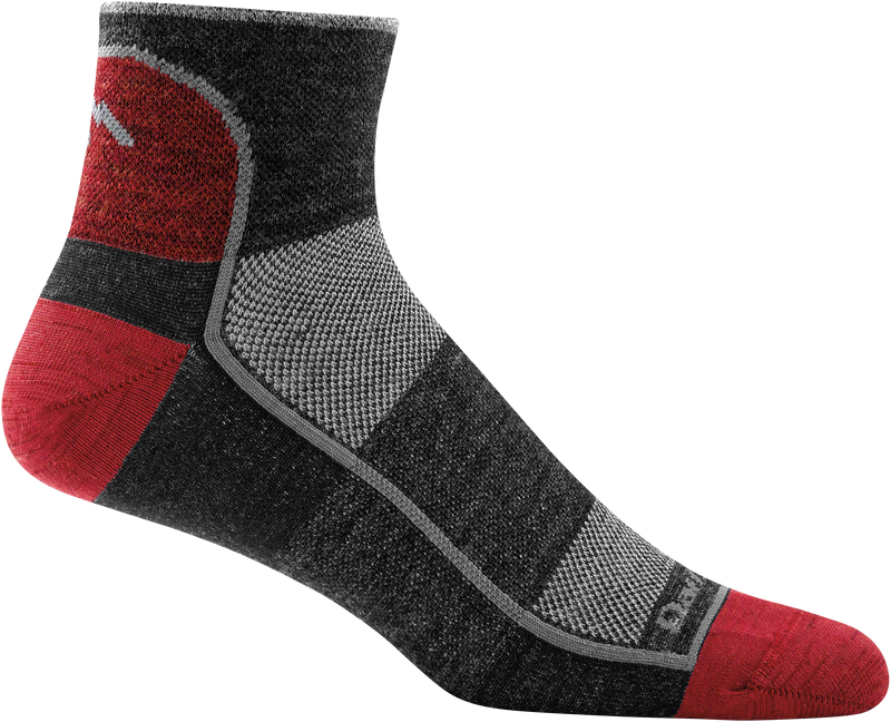 red, black ankle sock