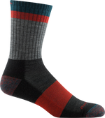 gray, red striped sock