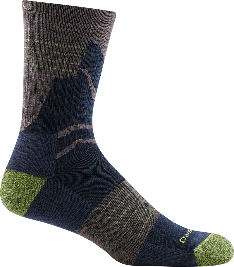 taupe green blue brown light crew hiking sock