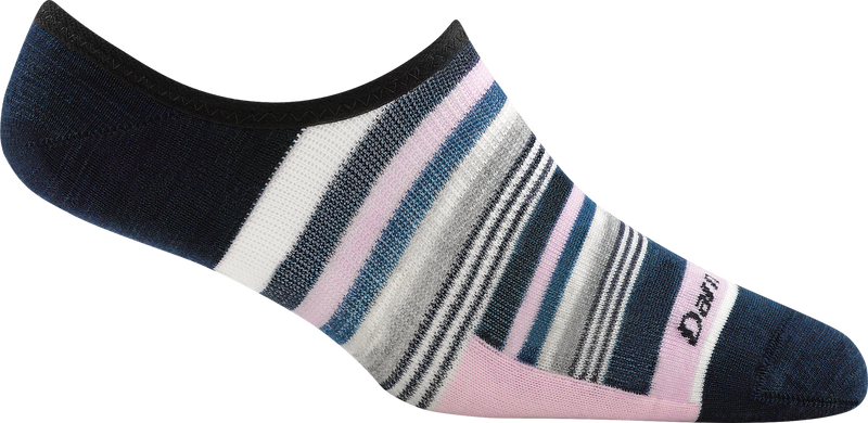pink blue striped no show work sock