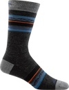 gray, blue, orange striped crew sock