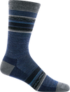 gray, blue striped crew sock