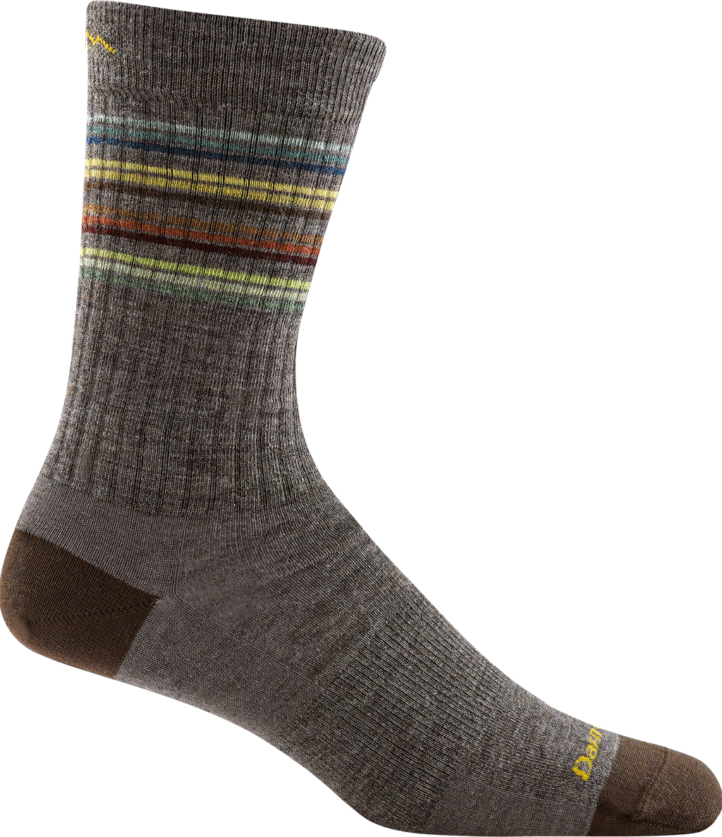 brown, multi-color striped crew sock