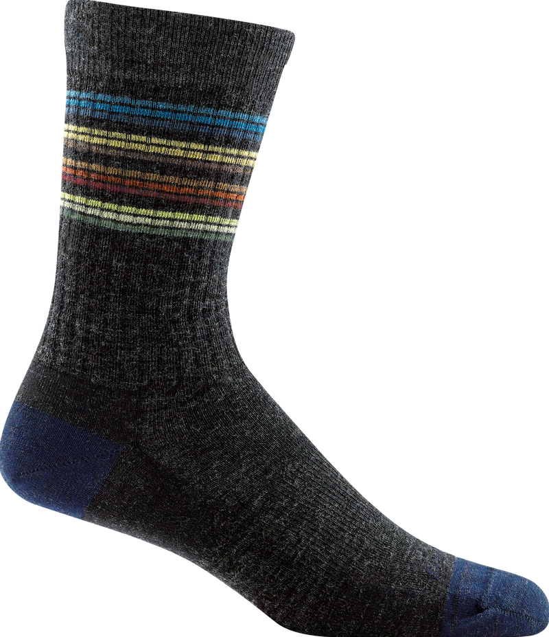 gray, blue, multi-color striped crew sock