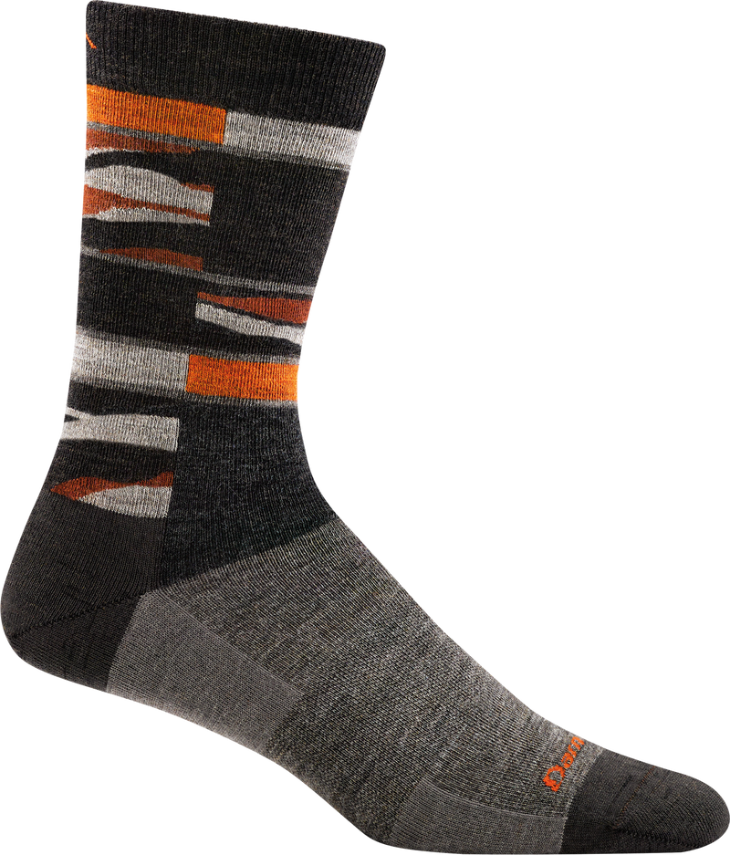 black, orange funky striped sock