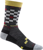 gray, red checkerboard design crew sock