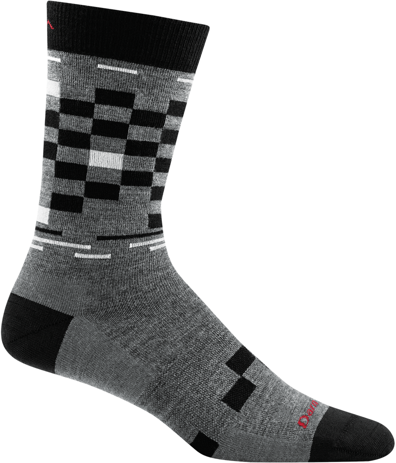 gray checkerboard design crew sock