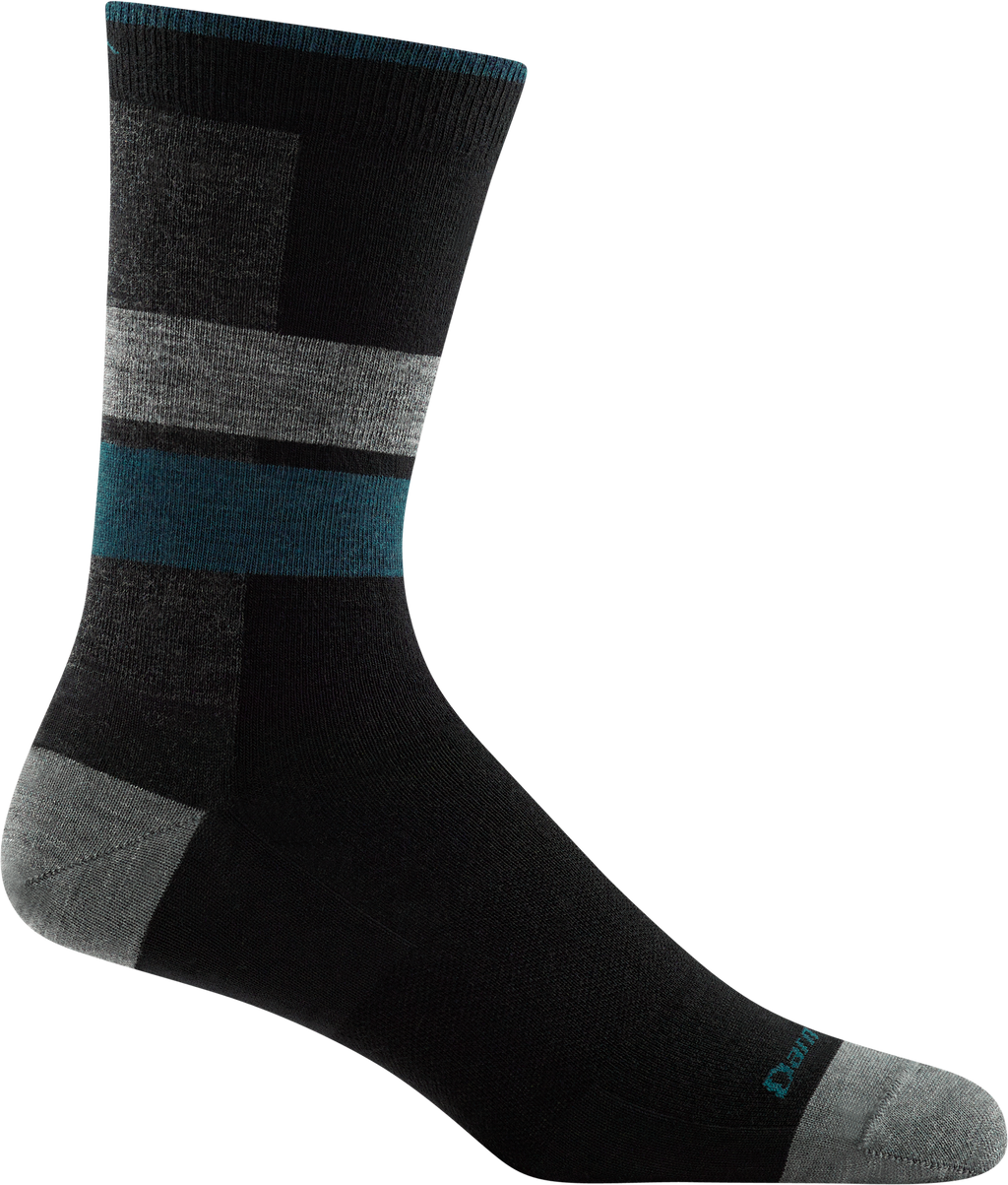 black, blue striped office crew sock