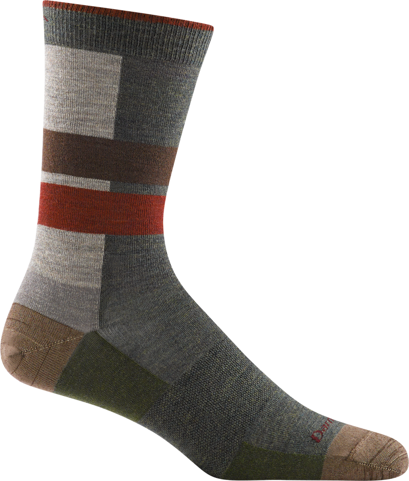brown, tan, red striped office crew sock