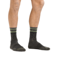 Man standing barefoot wearing Tempo Micro Crew Ultra-Lightweight Running Socks in Fatigue