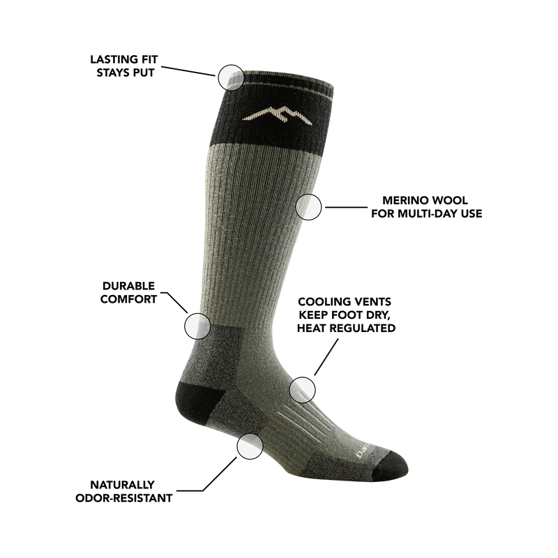 Image of Hunter Over the Calf Sock in Forest calling out all of it's various features and benefits