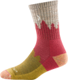 Alternate angle of Women's Treeline Micro Crew Sock in Cranberry showing the crescent moon above the treeline on the opposite side of the sock.