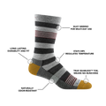 Image of Men's Oxford Crew Lifestyle Sock in Gray calling out all of the features of the sock
