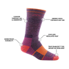 Image of Women's Hiker Boot sock in Plum Heather calling out all of it's features and benefits.