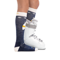 Profile image of kid legs facing to the right on a white background wearing Kids Polar Bear Over the Calf Midweight Ski & Snowboard Sock in Blue with rear foot also in a ski boot