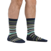 Man standing barefoot wearing Static Crew Lightweight Lifestyle Socks in Midnight