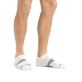 Man standing barefoot wearing Element No Show Tab Lightweight Athletic Sock No Cushion in White