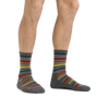 Man standing barefoot wearing Decade Stripe Micro Crew Midweight Hiking Socks in Gray