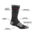 Image of Men's Hiker Boot sock calling out all of it's features and benefits