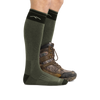 Profile image of a man's legs facing right against a white background wearing Hunter Over the Calf Heavyweight Hunting Socks in Forest with back foot also in a hunting boot