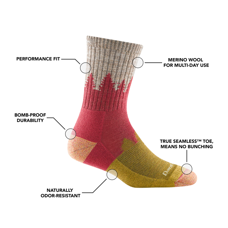 Image of Women's Treeline Micro Crew Hiking Sock in Cranberry calling out all of the features of the sock
