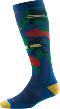 Reverse side of ski & snowboard sock in marine showing a yeti carrying skis and one carrying a snowboard.