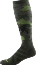 Profile image of Camo Over the Calf Midweight Ski & Snowboard socks in forest sock on a form facing to the left so that the yeti hidden in the camo pattern is visible