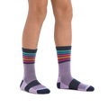 Kid standing barefoot wearing Kids Kelso Micro Crew Lightweight Hiking Socks in Lavender