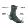 Image of Women's Micro Crew Hiking Sock in Slate calling out all of it's features and benefits