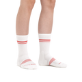Image of a woman's legs on a white background wearing Women's Element Crew Lightweight Athletic Socks in White